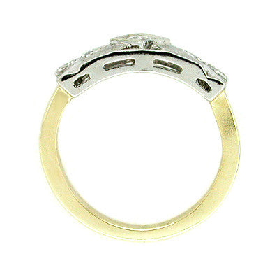 Vintage Mid Century Diamond Ring in 14 Karat White and Yellow Gold - Item: R201 - Image: 1