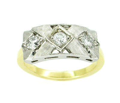 Vintage Mid Century Diamond Ring in 14 Karat White and Yellow Gold