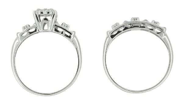 Retro Moderne Diamond Wedding Set in 14 Karat White Gold - Item: R219 - Image: 1