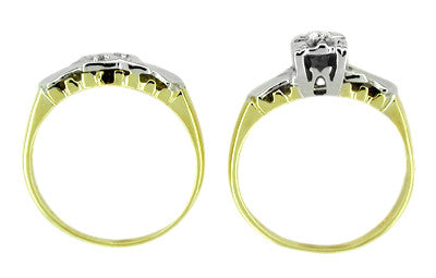Retro Moderne Diamond Wedding Set in 14 Karat White and Yellow Gold - Item: R226 - Image: 1