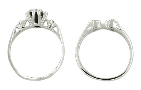Retro Moderne Galaxy Wedding Set in 14 Karat White Gold - Item: WSR103 - Image: 1