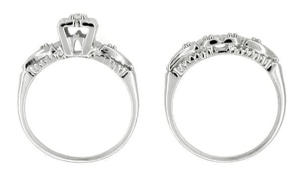 Retro Moderne Hearts and Clovers Diamond Wedding Set in 14 Karat White Gold - Item: R214 - Image: 1