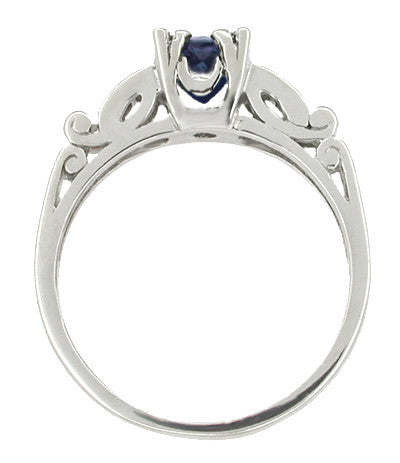 Sapphire and Diamonds Art Deco Engagement Ring in 18 Karat White Gold - Item: R256 - Image: 1