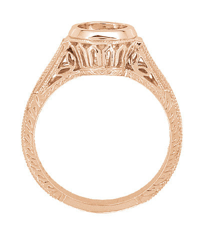 Art Deco Vintage Style 14K Rose Gold Filigree Bezel Setting Engagement Ring for a 1 - 1.25 Carat Round Diamond | Low Profile - Item: R306R1 - Image: 3
