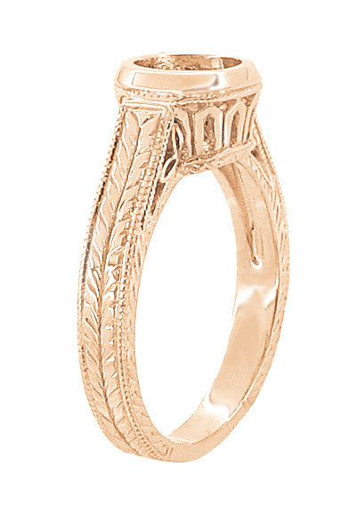 Art Deco Vintage Style 14K Rose Gold Filigree Bezel Setting Engagement Ring for a 1 - 1.25 Carat Round Diamond | Low Profile