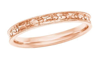 Edwardian Heirloom Engraved Floral Womens Wedding Band in 14K Rose Gold (Pink Gold)