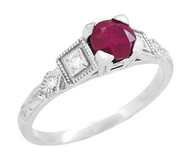 Ruby and Diamond Art Deco Engagement Ring in Platinum - Item: R207P - Image: 1