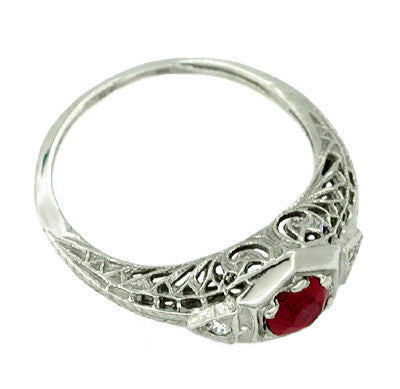 Ruby and Diamond Filigree Deco Ring in 14 Karat White Gold - Item: R154 - Image: 1