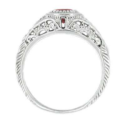 Art Deco Engraved Ruby and Diamond Filigree Engagement Ring in 14 Karat White Gold - Item: R189 - Image: 1