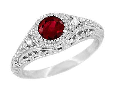 Art Deco Engraved Ruby and Diamond Filigree Engagement Ring in 14 Karat White Gold