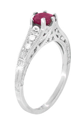 Art Deco Vintage Style Ruby and Diamond Filigree Engagement Ring in 14 Karat White Gold - Item: R191 - Image: 2