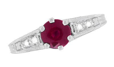 Art Deco Vintage Style Ruby and Diamond Filigree Engagement Ring in 14 Karat White Gold - Item: R191 - Image: 4