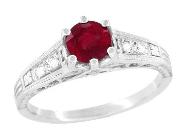 Art Deco Vintage Style Ruby and Diamond Filigree Engagement Ring in 14 Karat White Gold - Item: R191 - Image: 1