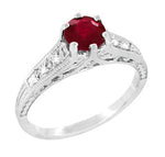 Art Deco Ruby and Diamond Scroll Filigree Engagement Ring in Platinum