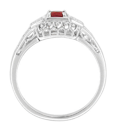 Art Deco Ruby and Diamond Filigree Engagement Ring in 14 Karat White Gold - Item: R227 - Image: 1