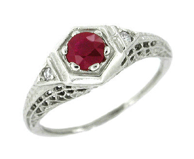 Ruby and Diamond Filigree Deco Ring in 14 Karat White Gold