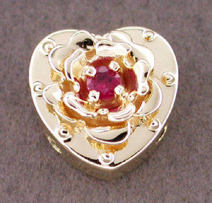 Ruby Set Heart and Rose Slide in 14 Karat Gold
