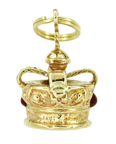 Ruby Set Royal Crown Charm in 14 Karat Gold - Item: C134 - Image: 1