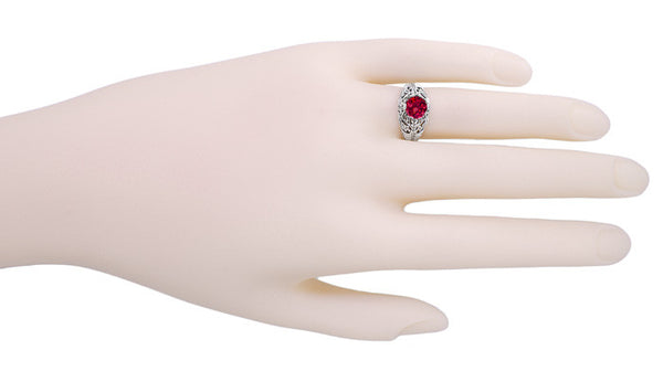 Rubellite Tourmaline Filigree Ring in 14 Karat White Gold - Item: R137 - Image: 2
