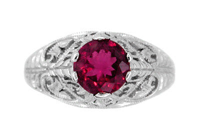 Rubellite Tourmaline Filigree Ring in 14 Karat White Gold - Item: R137 - Image: 1