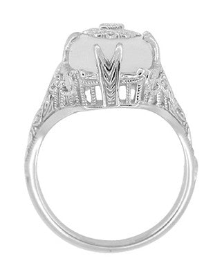 Art Deco Filigree Cabochon Loaf Crystal & Diamond Ring in Sterling Silver - Item: RV1028S - Image: 3
