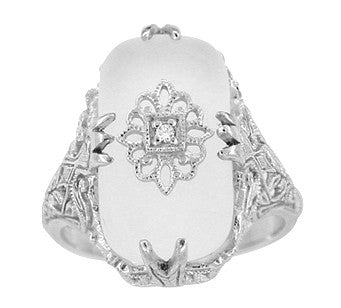 Art Deco Filigree Cabochon Loaf Crystal & Diamond Ring in Sterling Silver - Item: RV1028S - Image: 1
