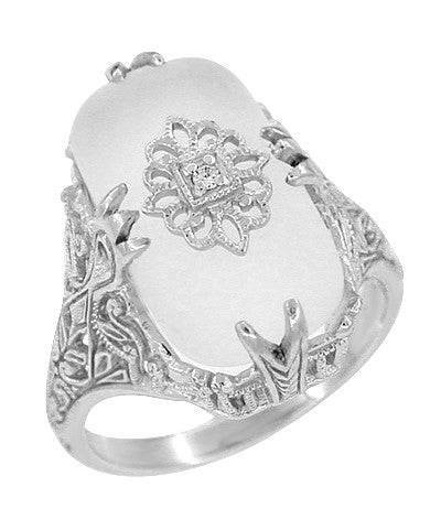 Art Deco Filigree Cabochon Loaf Crystal & Diamond Ring in Sterling Silver