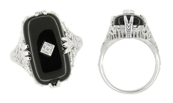 Art Deco Filigree Onyx and Diamond Set Ring in 14 Karat White Gold - Item: RV1160 - Image: 1