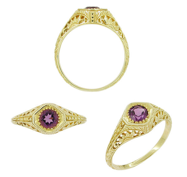 Art Deco Sunflowers Amethyst Filigree Ring in 14 Karat Yellow Gold - Item: RV117A - Image: 1