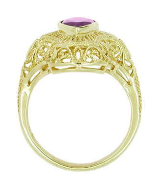 Art Deco Amethyst Filigree Cocktail Ring in 14 Karat Yellow Gold - Item: RV125A - Image: 2