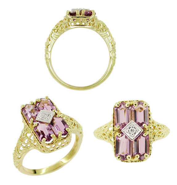Amethyst and Diamond Filigree Ring in 14 Karat Gold - Item: RV151 - Image: 1