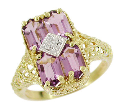 Amethyst and Diamond Filigree Ring in 14 Karat Gold