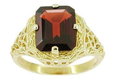 Art Deco Flowers and Leaves Almandine Garnet Filigree Ring in 14 Karat Yellow Gold - Item: RV193 - Image: 1