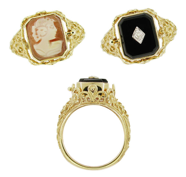 Edwardian Filigree Cameo Flip Ring with Diamond and Onyx in 14 Karat Yellow Gold - Item: RV235 - Image: 1