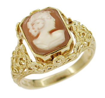 Edwardian Filigree Cameo Flip Ring with Diamond and Onyx in 14 Karat Yellow Gold