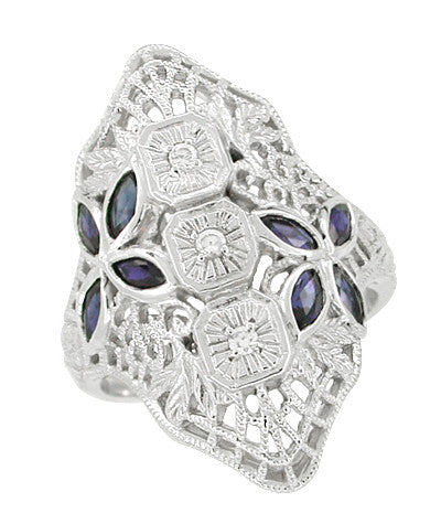 Art Deco Blue Sapphire and Cubic Zirconia Filigree Cocktail Ring in 14 Karat White Gold