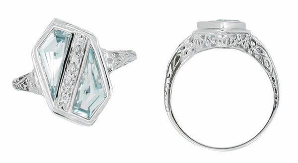 Art Deco Blue Topaz Royal Shield Filigree Ring in 14 Karat White Gold - Item: RV343B - Image: 1