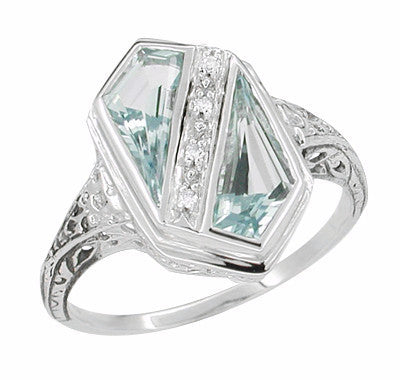 Art Deco Blue Topaz Royal Shield Filigree Ring in 14 Karat White Gold