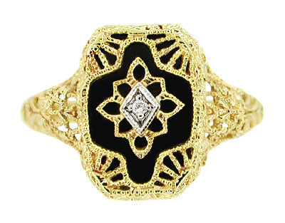Art Deco Filigree Onyx and Diamond Ring in 14 Karat Yellow Gold - Item: RV369 - Image: 2