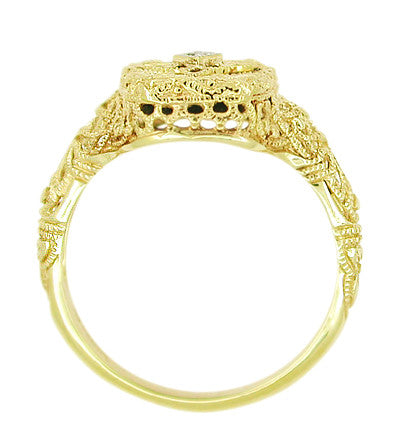 Art Deco Filigree Onyx and Diamond Ring in 14 Karat Yellow Gold - Item: RV369 - Image: 1