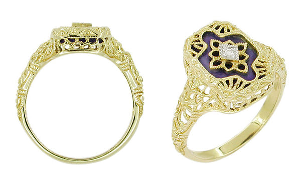Art Deco Filigree Lapis Lazuli and Diamond Ring in 14 Karat Yellow Gold - Item: RV369L - Image: 1