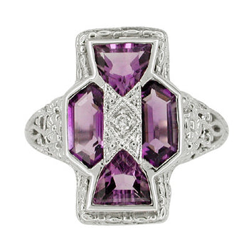 Art Deco Filigree Happy Family 4 Stone Amethyst and Diamond Filigree Ring in 14 Karat White Gold