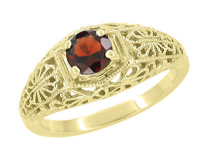Edwardian Filigree Flowers Domed Almandite Garnet Engagement Ring in 14 Karat Yellow Gold