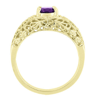Edwardian Floral Filigree Amethyst Engagement Ring in 14 Karat Yellow Gold - Item: RV709YA - Image: 1