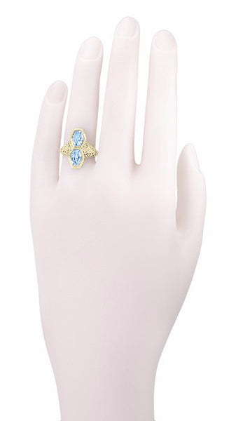 Art Deco Love Duet Blue Topaz Filigree Ring in 14 Karat Yellow Gold - Item: RV750 - Image: 3