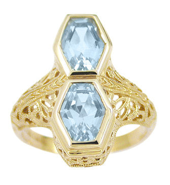 Art Deco Love Duet Blue Topaz Filigree Ring in 14 Karat Yellow Gold - Item: RV750 - Image: 1