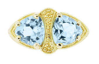 Art Deco Filigree Loving Duo Blue Topaz Ring in 14 Karat Yellow Gold - December Birthstone - Item: RV751 - Image: 2