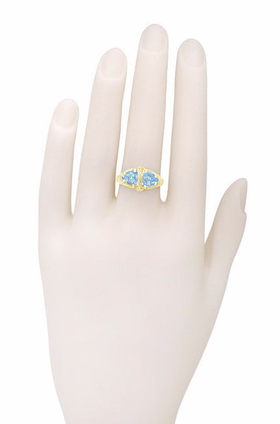 Art Deco Filigree Loving Duo Blue Topaz Ring in 14 Karat Yellow Gold - December Birthstone - Item: RV751 - Image: 3