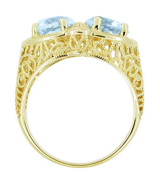 Art Deco Filigree Loving Duo Blue Topaz Ring in 14 Karat Yellow Gold - December Birthstone - Item: RV751 - Image: 1