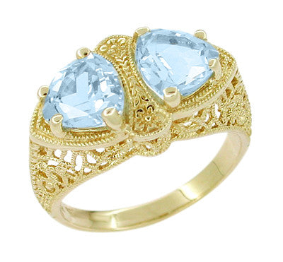 Art Deco Filigree Loving Duo Blue Topaz Ring in 14 Karat Yellow Gold - December Birthstone
